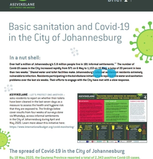 Asivikelane brief 1: Basic sanitation and Covid-19 in the city of Johannesburg 9