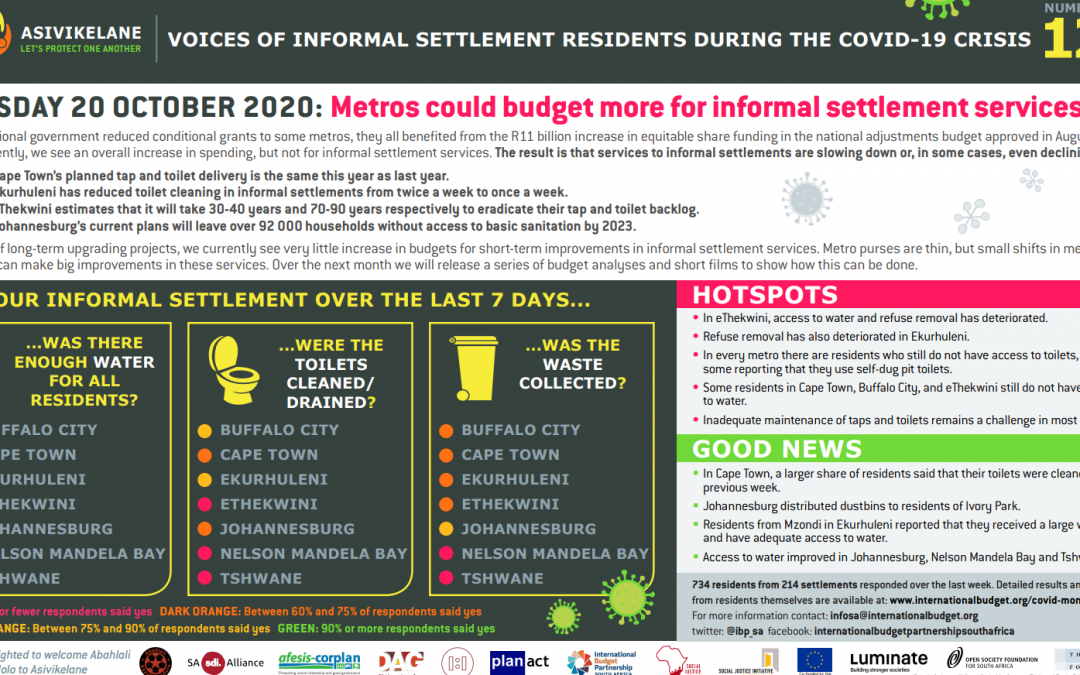 Asivikelane 12 Results:  Metros could budget more for informal settlement services.